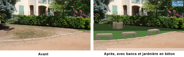 Bancs et jardinière pour jardin d'enfants
